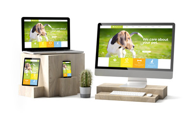 Wall Mural - wooden cubes devices isolated pet responsive website