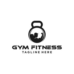 kettlebell fitness logo icon illustration vector template download