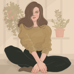 illustration of a beautiful girl in a green sweater sitting on the floor on a background of flowers in pots