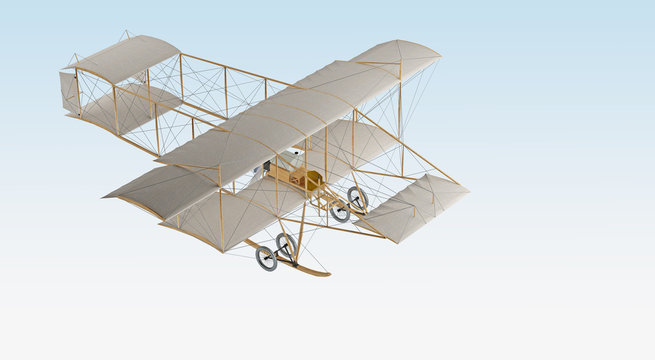 invention first aircraft isolated on white