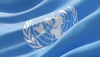 Waved highly detailed close-up flag of United Nations. 3D illustration.