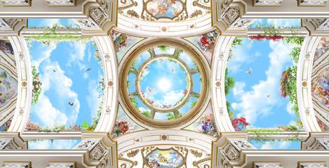 arched dome with sky, baroque columns, Renaissance, ceiling, fresco