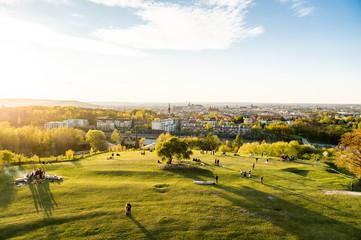 Krakow, Poland - April 26, 2019: View from the oldest mound in Krakow - Krakus mound (Kopiec Kraka)