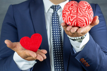 Heart and Brain scales for holding, Divorce Concept