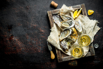 Raw oysters on a rag in a wooden tray with glasses of white wine.