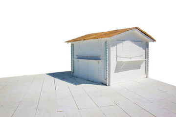 Small wooden cottage - image on white background for easy selection.