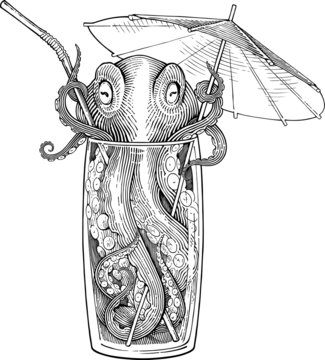 Vector illustration of octopus sitting in a highball glass