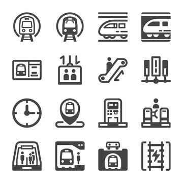 subway train and subway transportation icon set,vector and illustration