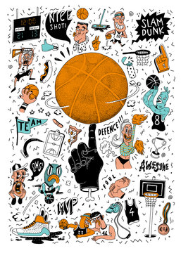 Illustration of set of basketball elements