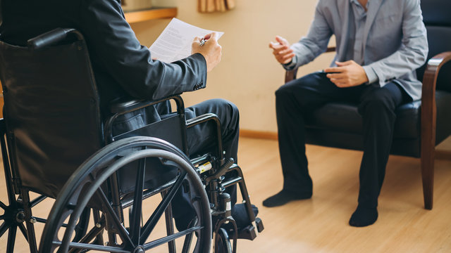 After car accident and rehabilitation, a businessman can return to work again.The company which employing disable people will receive tax deductions benefits.