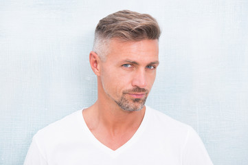 Grizzle hair suits him. Deal with gray roots. Man attractive well groomed facial hair. Barber shop concept. Barber and hairdresser. Man mature good looking model. Silver hair shampoo. Anti ageing