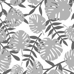 Tile tropical vector pattern with grey exotic leaves for seamless background