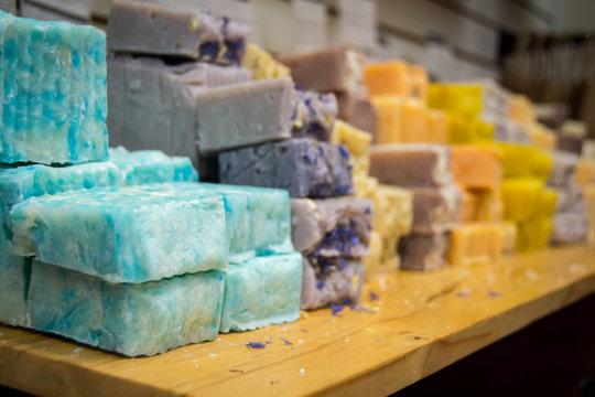 Natural bars of soap on display