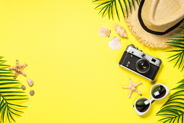 Summer travel concept flat lay image.