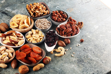 Composition with dried fruits and assorted healthy organic nuts