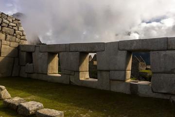 Incan stone wall in Machu Picchu, Peru
