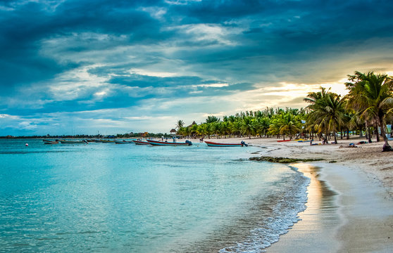 Beach in Akumal in sunset, Mexico, Yucatan peninsula