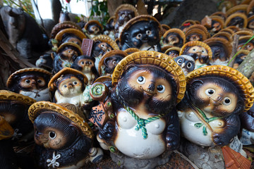 Group of Tanuki statues