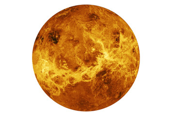 The planet Venus is entirely isolated on white background. Elements of this image were furnished by NASA