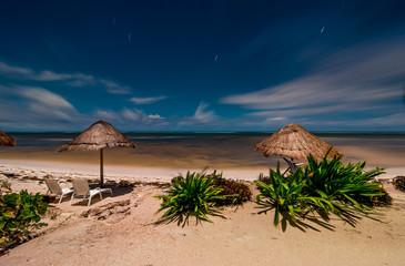 Caribbean beach at night in Mahahual, Mexico, Yucatan peninsula, Quintana Roo