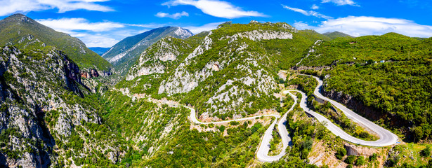 Winding road in the mountains of Greece