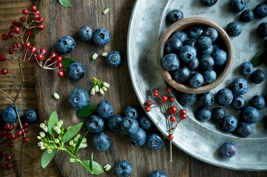 Overhead view of blueberries in bowl