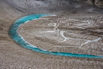 Russia, Kamchatka, blue glacial water in a glacier on Mutnovsky volcano