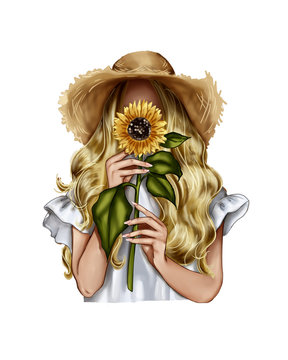 Fashion Illustration - Girl holding a sunflower - woman Portrait