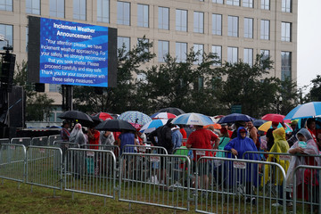 A sign warning of bad weather is pictured during a rally for U.S. President Donald Trump at the Amway Center in Orlando