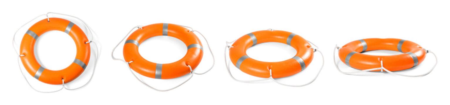 Set of orange lifebuoy rings on white background
