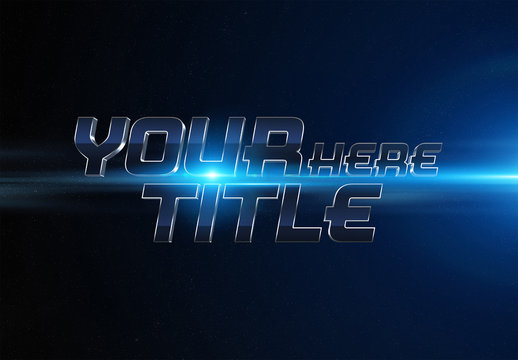 Blue and Silver Metallic Text Effect