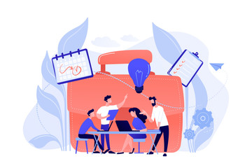 Business team work together with laptops and light bulb. Collaboration, collaborative problem solving and partnership concept on white background. Coral pink palette vector isolated illustration.