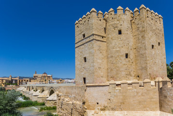 Fototapete - Historic city gate and roman bridge in Cordoba, Spain