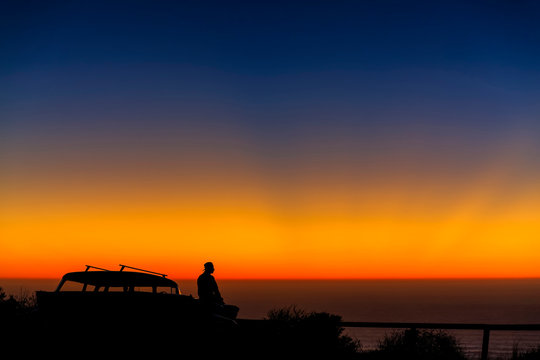 Sunset at Beach with Man, Car, silhouette