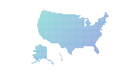 Dotted gradient USA map for backgrounds, brochures web. vector illustration isolated on white background.