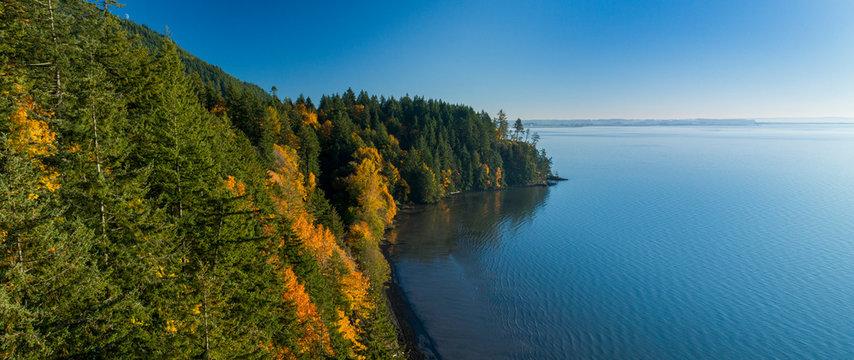 Chuckanut Drive Samish Bay Waterfront Ocean Aerial View Fall Autumn Tree Colors