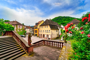 View of the old town Amorbach with the stairs of the abbey Amorbach in the foreground
