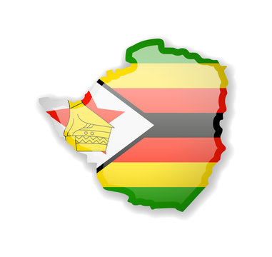 Zimbabwe flag and outline of the country on a white background.