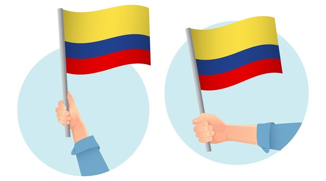 Colombia flag in hand icon