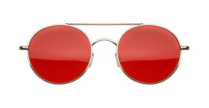 Gold Frame Red Lens Sun Glasses Front