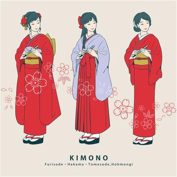 着物姿の女性(振袖・袴・色留袖)