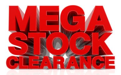 3D MEGA STOCK CLEARANCE word on white background 3d rendering
