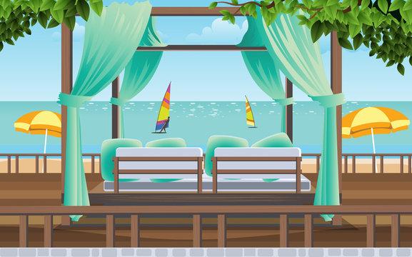 cabana in resort on the beach