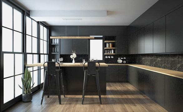 Modern kitchen interior with furniture.3d rendering