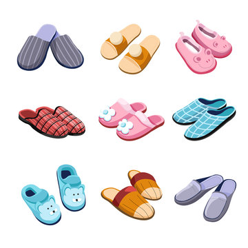 Slippers home footwear isolated pairs male female and for kids