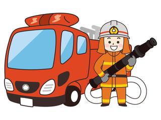消防士の男性とはしご消防車