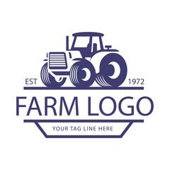 Creative Tractor or Farm logo illustration, emblem design - Vector