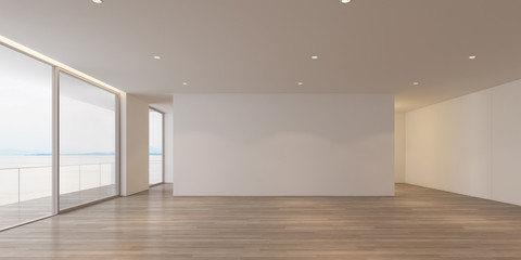 Obraz 3D rendering of white  luxury empty room and wood floor on sea view background with sun light cast shadow on the wall,Perspective of minimal architecture. - fototapety do salonu