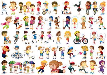 Diverse children set on white background