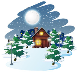 Wall Mural - Cabin in winter background